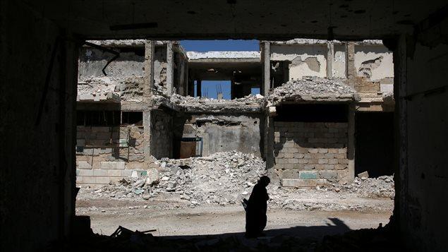 Ciudad de Inkhil, oeste de Siria, devastada por la guerra.