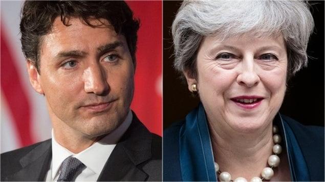 À gauche: Premier ministre Justin Trudeau. À droite: Premier ministre britannique Theresa May. (Drew Angerer / Getty Images Jack Taylor / Getty Images)