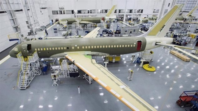 Bombardier's CS100 assembly line is seen at the company's plant Friday, December 18, 2015 in Mirabel, Que. Boeing says a trade fight it has launched against Bombardier is meant to prevent the construction of a larger aircraft that would compete against its 737 aircraft.