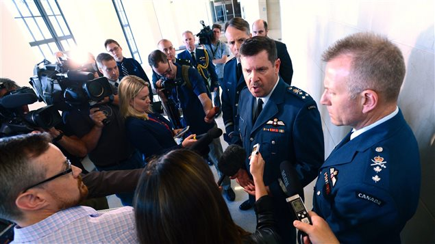 Lt. Gen. Pierre St-Amand speaks to media after appearing as a witness at a commons national defence committee in Ottawa on Thursday, Sept. 14, 2017. The committee is hearing witnesses on Canada's abilities to defend itself and our allies in the event of an attack by North Korea on the North American continent.