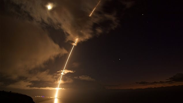 A medium-range ballistic missile target is launched from the Pacific Missile Range Facility, before being successfully intercepted by Standard Missile-6 missiles fired from the guided-missile destroyer USS John Paul Jones, in Kauai, Hawaii, U.S. August 29, 2017 in this handout image.