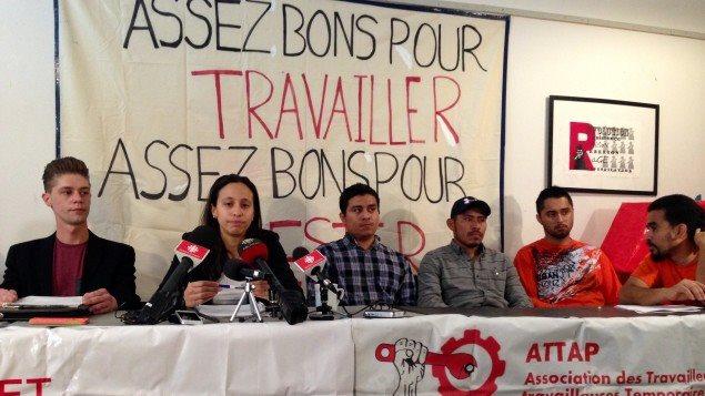 Une conférence de presse du Centre des travailleurs et travailleuses immigrants et de l'Association et l'avocate Suzanne Ramirez.