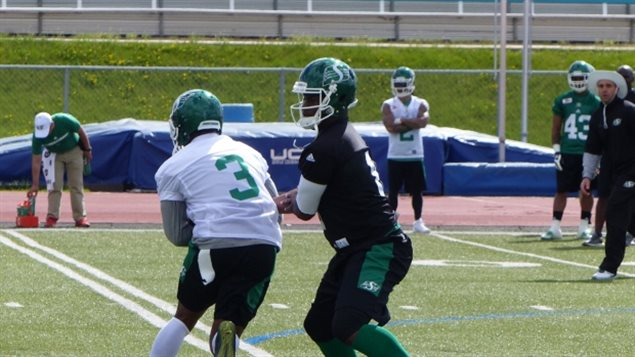 Saskatchewan Roughriders traininig camp spring 2017. Full contact with pads will still be allowed at camps, but no longer during regular season practices. Helmets will be allowed however in those practices.