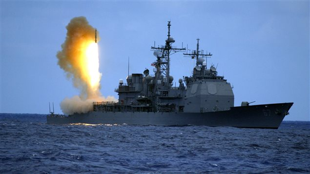 A Standard Missile Three (SM-3) is launched from the guided missile cruiser USS Shiloh (CG 67) during a joint U.S. Missile Defense Agency, U.S. Navy ballistic missile flight test in the Pacific Ocean, June 22, 2006.