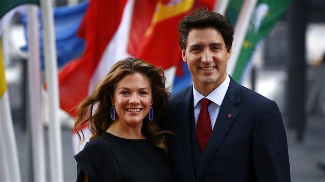 El primer ministro de Canadá, Justin Trudeau y su esposa Sophie Grégoire Trudeau, en la Cumbre del G20 en Hamburgo, Alemania, el 7 de julio 2017.