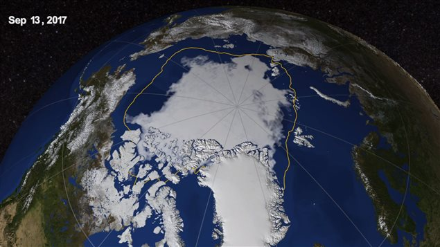 Arctic sea-ice coverage shrank to its minimum on Septemeber 13, the eight lowest sea-ice extent on record