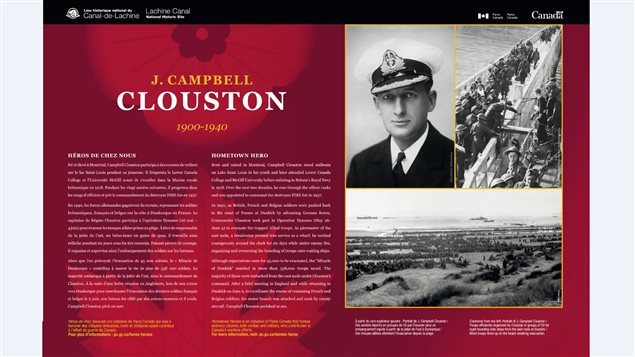 The interpretive panel that was unveiled today at the Lachine Canal in Montreal, Cmdr Cloouston's home town.