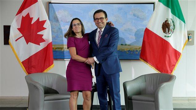 Ministra de Relaciones Exteriores de Canadá, Chrystia Freeland, estrecha la mano del  Secretario de Economía de México, Ildefonso Guajardo Villarreal.