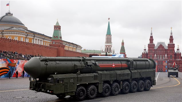 A Yars RS-24 intercontinental ballistic missile system is seen during the 72nd anniversary of the end of World War II on the Red Square in Moscow.