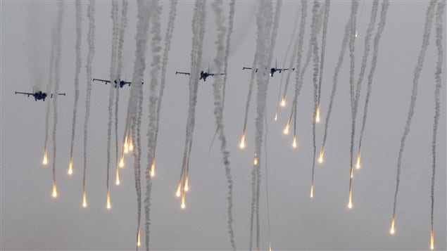 Jet fighters release flares during the Zapad 2017 war games at a range near the town of Borisov, Belarus September 20, 2017.