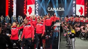 Team Canada arrives during the opening ceremony of the Invictus Games in Toronto on Saturday.