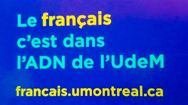 Detalle de la campaña de promoción de la lengua francesa en la Universidad de Montreal.