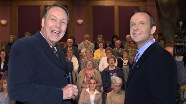 100 Huntley Street founder and longtime host David Mainse,(L) seen here interviewing  politician Stockwell Day in 2000. REverend Mainse lost his battle with leukemia on Monday
