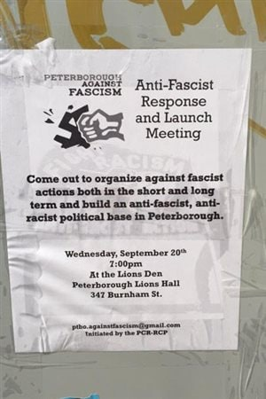 Poster for *anti-fascist* counter rally in Peterborough. In small print at the bottom is says *initiated by the PCR-RCP* which stands for the Canadian group Revolutionary Communist Party
