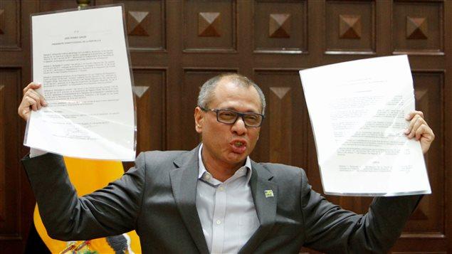 El vicepresidente ecuatoriano Jorge Glas, durante una conferencia de prensa, cuando fue relevado de sus funciones por el presidente Lenín Moreno.