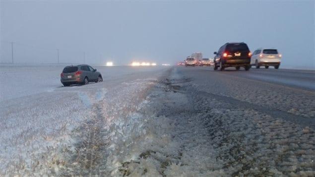 Highway 2 (Queen Elizabeth II Highway) between Airdrie and Balzac, Alberta at about 7:15 a.m. Monday.