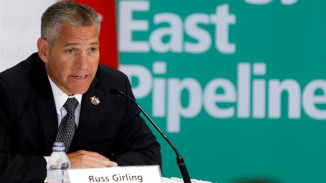 TransCanada CEO Russ Girling speaks about plans for the Energy East pipeline in August 2013. On Thursday, the company said it will continue to advance its other projects while pausing Energy East.