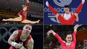 Canada's artistic gymnasts at this week's 47th gymnastics world championships in Montreal includes a dominant women's squad, according to CBC Sports analyst Kyle Shewfelt and a *hungry* men's side, including clockwise from top left: Ellie Black, Zachary Clay, Isabela Onyshko and Scott Morgan.