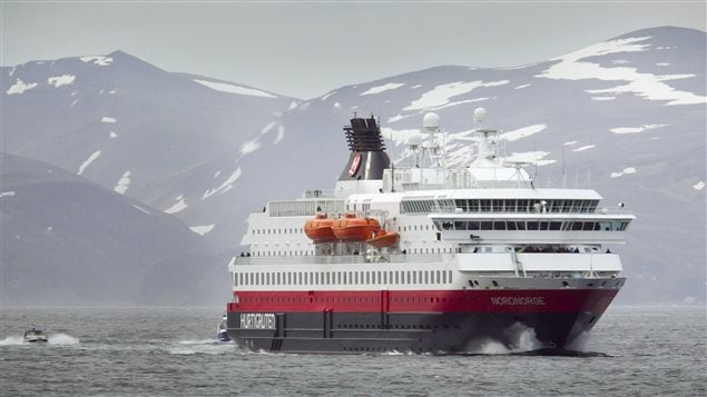 The Hurtigruten MMS Nordnorge cruise ship approaches Honningsvag June 21, 2011. Hurtingruten does not use HFO on its vessels and supports the ban on their use in the Arctic.