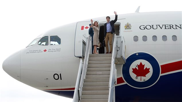 Prime Minister Justin Trudeau and wife Sophie Gregoire Trudeau depart Ottawa on Tuesday, Oct. 10, 2017, en route to Washington, D.C.