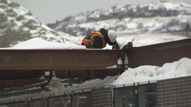 A construction worker on the Alt Hotel project in downtown St. John's. Demers said working at heights can be especially dangerous, even if drugs were used the night before work.