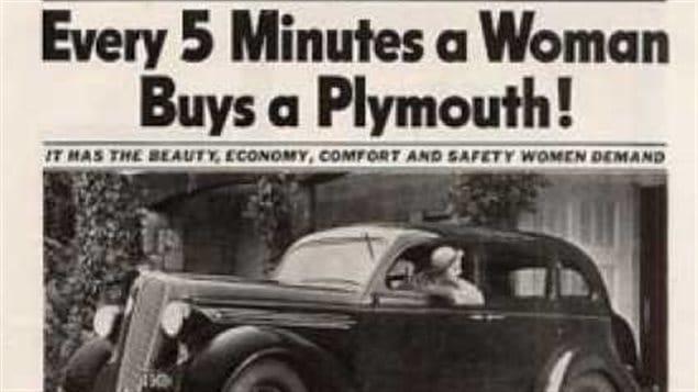 Publicité Plymouth de 1936 - « Toutes les 5 minutes, une femme achète une automobile »