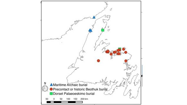 Locations around Newfoundland and Labrador where DNA samplse were ccllected