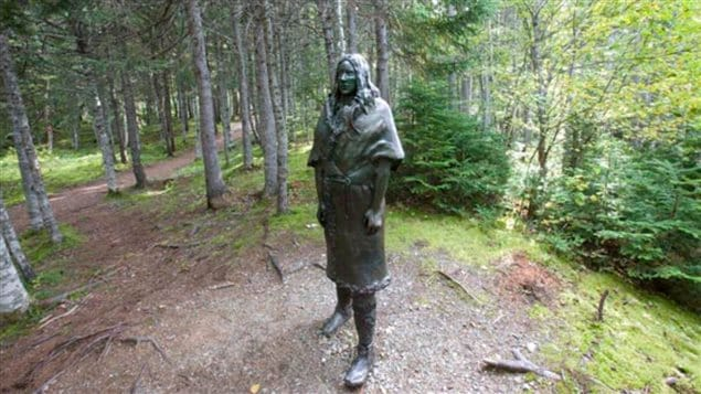 The *Spirit of the Beothuk* a slightly larger than life bronze statue by the late artist Gerald Squires, located at the Beothuk Interpretation Centre, Boyd's Cove Newfoundland