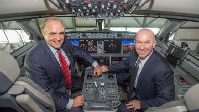 Feb. 2016 Alain Bellemare, right, president and CEO of Bombardier Inc., and Calin Rovinescu, president and CEO of Air Canada, sit in the cockpit of a CSeries jet. Air Canada will buy 45 CSeries jets, but international sales have been slow, and now chilled by Boeing's tariff challenge
