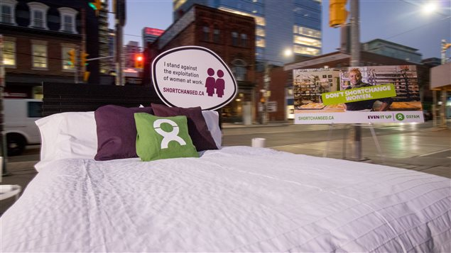 Oxfam Canada invited passersby in Toronto to try making a bed 'to see if they have what it takes to take on the backbreaking work of hotel housekeepers.'