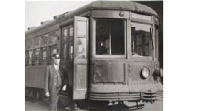 date unknown: *Streetcar conductor, Mr. Patrick Sr., ready to start work on the Erie Street line*