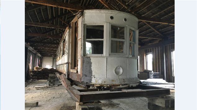The recovered #351 streetcar inside an originial SW&AR repair shop in Windsor. The building which was to be a restaurant, has been sold again.