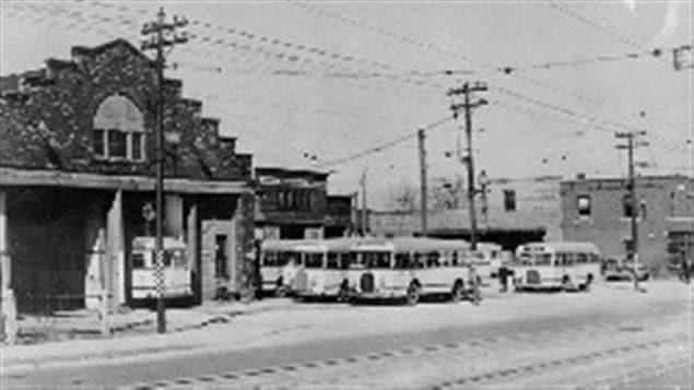 The original streetcar barns now serving busses probaly very early 1940's.
