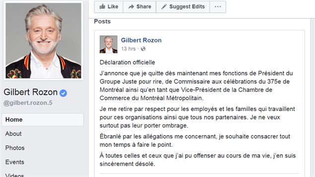 Rozon's *official declaration* related to allegations against him