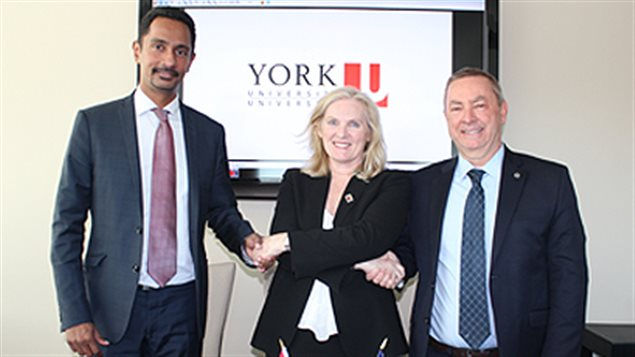(L-R) Dean of Science Ray Jayawardhana, President & Vice-Chancellor at York U Rhonda Lenton and Director of Fermilab Nigel Lockyer after signing the Memorandum of Understanding to join the 30 country neutrino research experiment in the U.S.