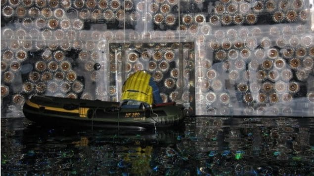 Inside the 34 metre tall and 22 metre wide neutrino dectector deep within a mine in Sudbury Ontario