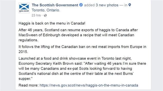 The Facebook announcement of Scots haggis return to Canada