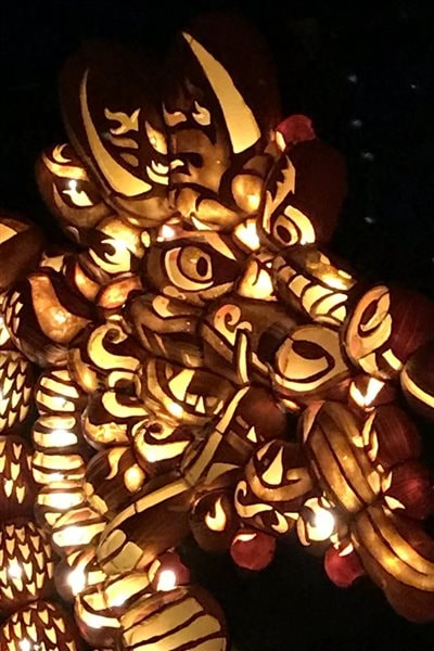 Another dragon- closeup: The head itself is made up of more than two dozen intricately carved pumpkins