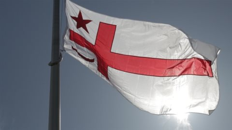 A Mi'kmaq Grand Council flag flies at Dalhousie University in Halifax.