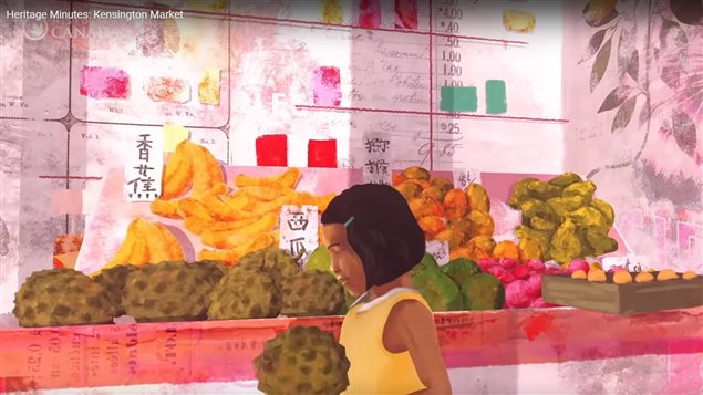 This Heritage Minute shows that immigrants from many parts of the world opened shops in Toronto's Kensington Market.