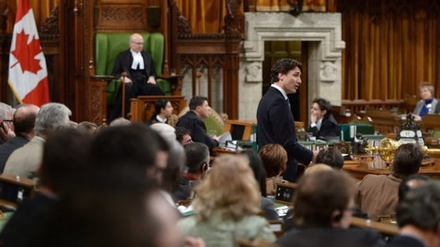 Jan 2017:Speaker Geoff Regan looks on as Prime Minister Justin Trudeau speaks in the House of Commons. The debates are often interrupted by the raucus interruptions of hoots, howld, catcalls, of general heckling.