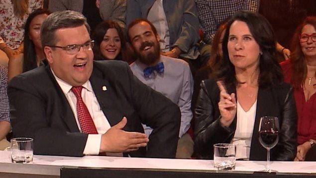 دوني كودير وفاليري بلانت خلال حملة الانتخابات البلديّة في مونتريال