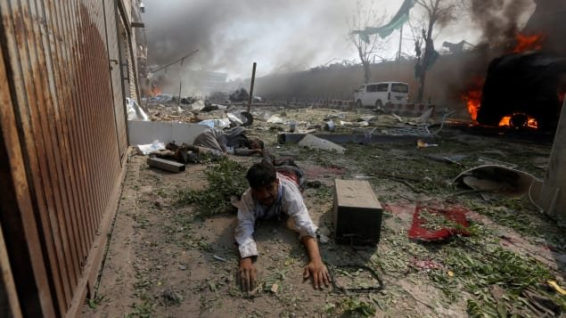 Explosion dans le secteur des ambassades de Kaboul, Afghanistan. Photo : Reuters/Omar Sobhani