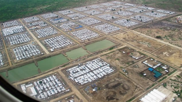 A protection camp for displaced civilians is seen from a plane in Bentiu, South Sudan June 18, 2017. The camp has become South Sudan's second largest city, according David Morley of UNICEF Canada.