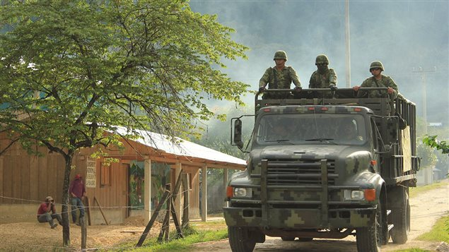 Camión del ejército mexicano en Chiapas