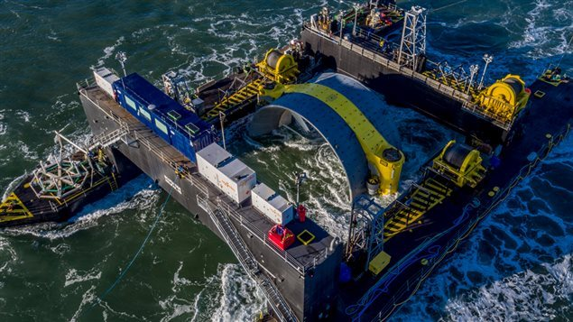 The Scotia Tide deployment barge is towed into position in the Minas Passage near Parrsboro, Nova Scotia on Monday Nov. 7, 2016 in this handout image provided by Cape Sharp Tidal.