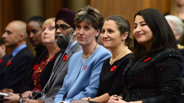 (from right to left) Maryam Monsef, Minister of Status of Women, sits with Chrystia Freeland, Minister of Foreign Affairs, Marie-Claude Bibeau, Minister of International Development and La Francophonie and Harjit Sajjan, Minister of National Defence prior to making an announcement on women, peace and security in Ottawa on Wednesday Nov. 1, 2017.