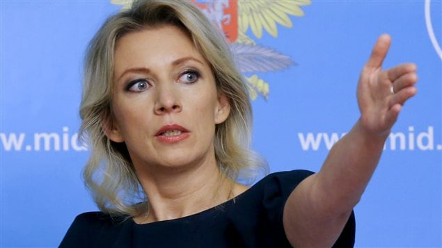 Spokeswoman of the Russian Foreign Ministry Maria Zakharova gestures as she attends a news briefing in Moscow, Russia, October 6, 2015.