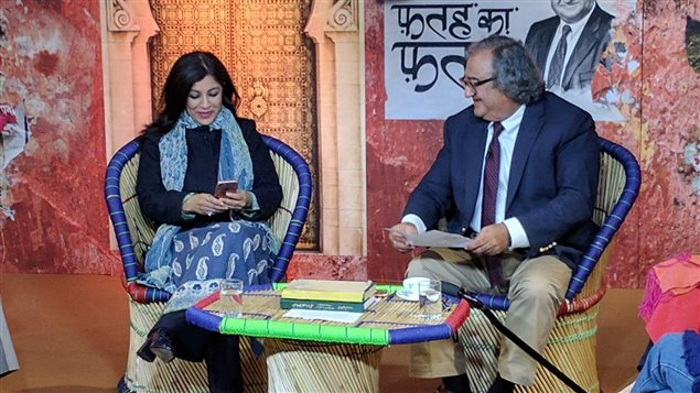Hosting the show 'Fatah Ka Fatwa' on India's ZeeNews with guestShazia Ilmi, a Muslim politician from Delhi.