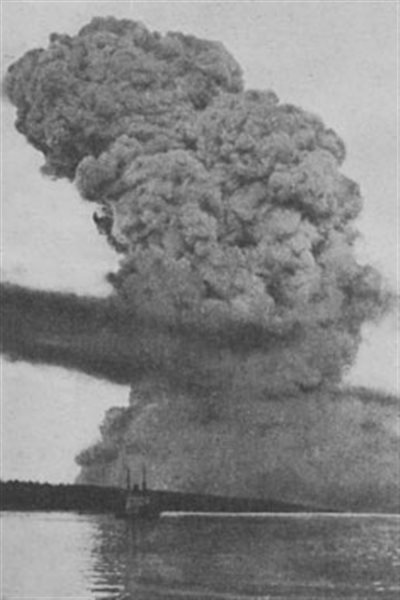 An incredible photo that captured the blast taken from several kilometres away.